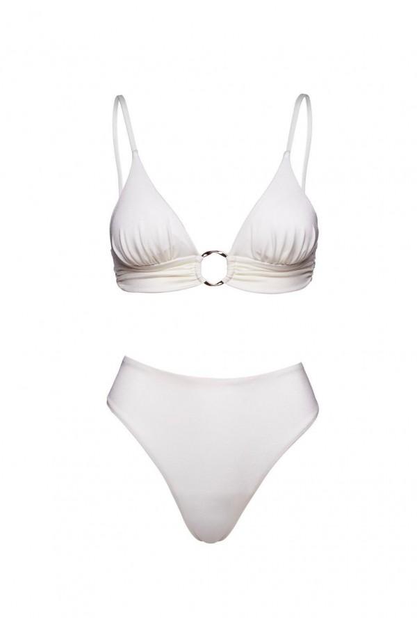 Chloe White Porcelaine Sculpt Bikini Bottom