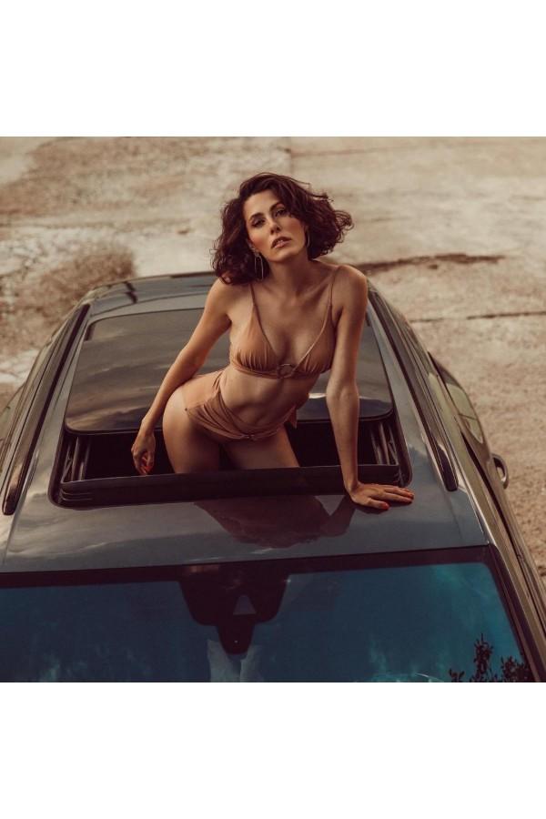 Chloe Camel Triangle Bikini Top